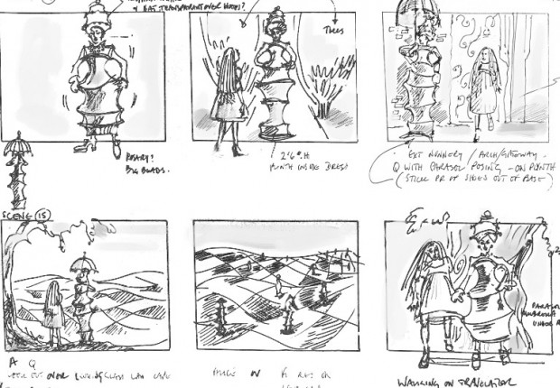 Anne Tilby storyboard: Alice Through the Looking Glass 2