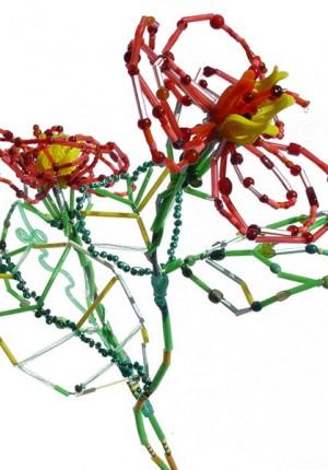 tilby red plastic straw flower